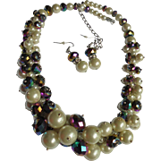 Drippy Necklace & Earrings Set  Pearl & Blue Iridescent Stunning Demi Parure