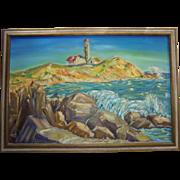 Vivid Impressionist Maine Lighthouse Large Oil on Canvas Painting
