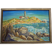 Vivid Impressionist Maine Lighthouse Large Oil on Canvas Painting