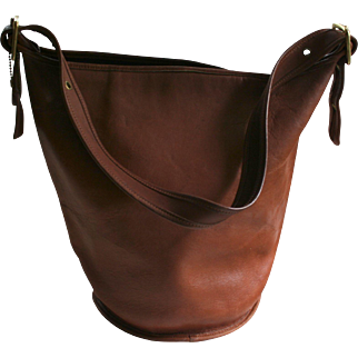 Extra Large Vintage Coach Bucket Shoulder Bag British Tan Leather 1980s Fabulous!