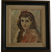 c1940s Enchanting Portrait Teenage Girl Ribbon in Her Hair Oil Painting