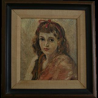 c1940s Enchanting Portrait Teenage Girl Ribbon in Her Hair Oil Painting