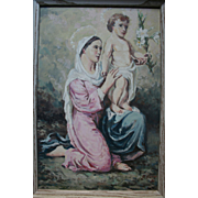 1950 Madonna and Child Jesus Beautiful Oil Painting by Italian / American Church Muralist Painter