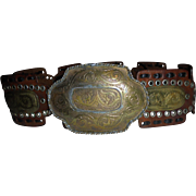 Huge Moroccan Southwest Belt Hammered MIxed Metals Sz S M