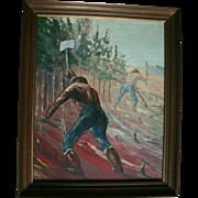 WPA Era Oil Social Realism Painting Men Working