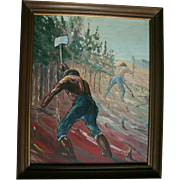 WPA Era Oil Social Realism Oil Painting Men Working Railroad Lumberjacks