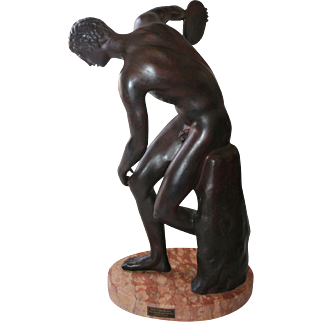Antique Large Bronze Sculpture Discus Thrower Marble Base by Noted Italian Sculptor Classic Fine Art