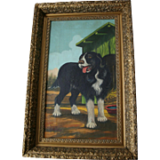 Fabulous 1892 Antique American Naive School Beautiful Dog Oil Painting