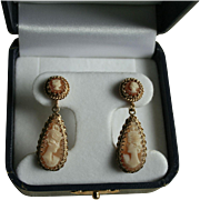 Rare Antique 14K Gold Cameo Dangle Drop Screwback Earrings