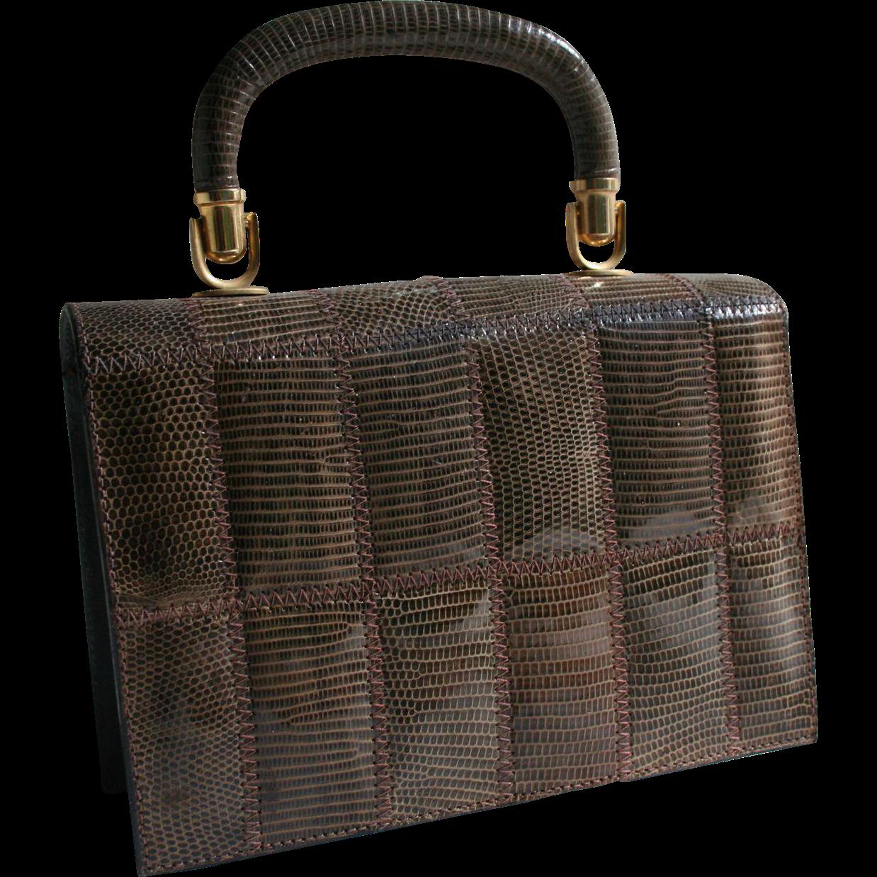 Vintage Tano Lizard Handbag with Brooklyn NYC Purse Shop Label Box Case Purse - Collector's Piece!