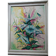 Signed Watercolor & Oil Beautiful Vibrant Still Life
