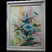 Signed Watercolor & Oil Beautiful Vibrant Still Life