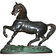 Beautiful Prancing Horse Painted Spelter Statue