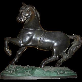 Beautiful Bronze Horse Sculpture After Jaipur Art Nouveau