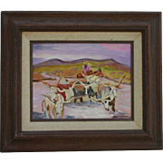 Joseph W Golinkin (1896 - 1977) Highly Listed Artist Cowboy & Longhorns Impressionist Oil Painting