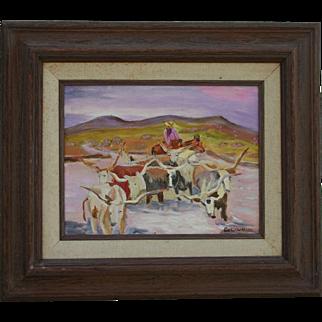 Joseph W Golinkin (1896 - 1977) Highly Listed Artist Cowboy & Longhorns Impressionist Oil Painting