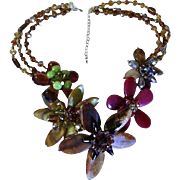 Couture Statement Necklace! Molded Glass & Crystal Floral Runway Piece