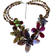 Statement Necklace! Molded Glass & Crystal Floral Runway Piece!