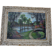 1963 Cypress Gardens Florida Huge Original Oil Painting by Renowned Artist Reathie Hummell ~ Highwaymen Era