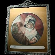 Original Samuel Arlent Edwards Mezzotint Pencil Signed in Carved Ornate Frame