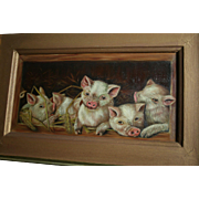 Enchanting Antique Five Piglets in Barn Original Oil Painting Pennsylvania Provenance