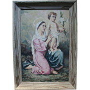 1950s Madonna and Child Jesus Beautiful Oil Painting by Italian / American Church Muralist Painter Easter