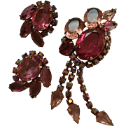 Red & Pink DeLizza & Ester Juliana Dangling Rhinestone Brooch & Earrings Set