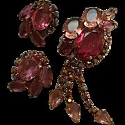 Red & Pink DeLizza & Ester Juliana Dangling Rhinestone Brooch & Earrings Set