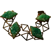 Fabulous Vendome 1960s Carved Green Peking Glass geometric Bracelet