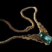 Vintage Nolan Miller Aqua-Marine-Blue Pendant Necklace Gorgeous!