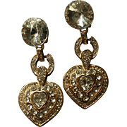 Gorgeous Vintage Rivoli Runway Worthy Dangling Crystal Heart Earrings