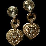 Gorgeous Vintage Rivoli Runway Worthy Dangling Crystal Heart Earrings