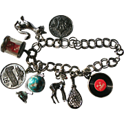 Vintage 1950's Sterling Silver Charm Bracelet Globe LP Record Dice & More!