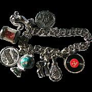 Vintage 1950's Sterling Silver Charm Bracelet Globe LP Record Dice & More!