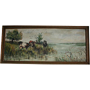 Antique American School Cows at The Marshes Pastoral Scene Oil Painting
