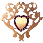 14K Solid Gold Rubies Heart Ornate Scalloped Brooch by French Designer