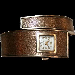 Ladies Croton Mid Century Mod Wrap Around Cuff Wrist Watch Mid Century Mod