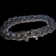 Vintage 925 Solid Sterling Silver Chain Link Heart Motiff Charm Bracelet