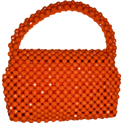 Halloween Vintage ORANGE Plastic Beaded Handbag Made in Hong Kong Adorable