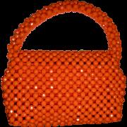 1960s Vintage ORANGE Plastic Beaded Handbag  Adorable