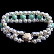 Exquisite 14K Gold Jade & Cultured Pearl Triple Strand Mid-Century Bracelet