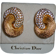 Vintage New Christian Dior on Original Card Crystal & Gold Tone Elegant Earrings