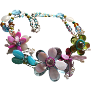 Bouquet Beautiful Flowers and Butterfly Motiff Glass and Crystal Chunky Bib Couture Necklace