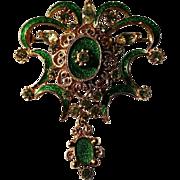 Fabulous Vintage Guilloche Florenza Fleur-de-Lis Dangling Brooch