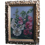 Hollyhocks Antique Oil Painting Philadelphia Victorian Era Provenance