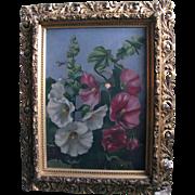 Hollyhocks Antique Oil Painting Philadelphia Victorian Era Provenance