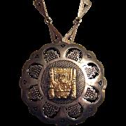 925 & 18K Gold Peru Pendant / Brooch Necklace Modernist Heart Shape Link Sterling Chain