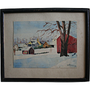 Kansas Artist Grace Bilger Stansbury Signed Watercolor Country Winter Landscape