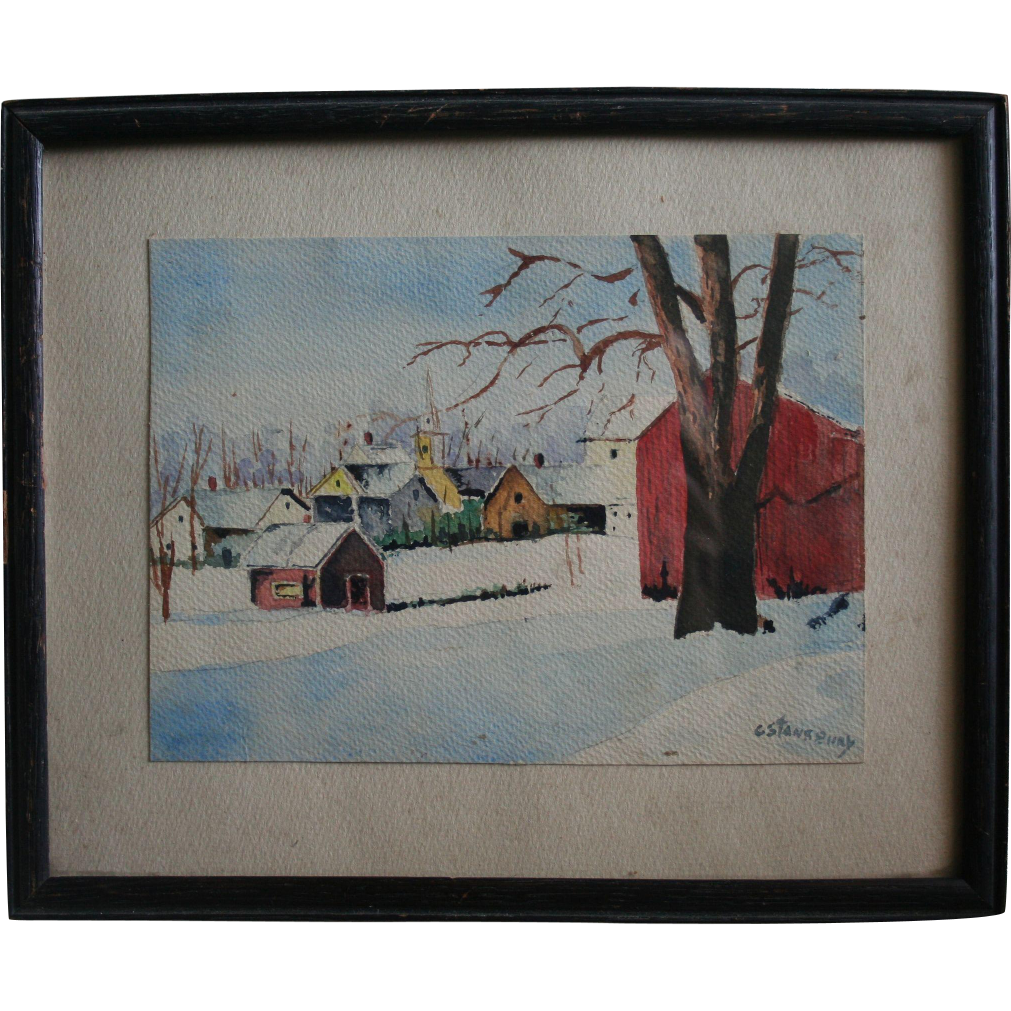Watercolor artists directory wiki - Kansas Artist Grace Bilger Stansbury Signed Watercolor Country Winter Landscape