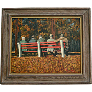 Friends in Fedoras Old Men on Park Bench Vintage Oil Painting Signed Illegible